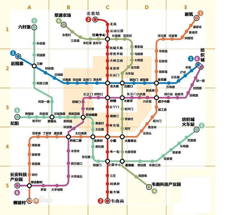 西安地铁一号线线路图及站点介绍